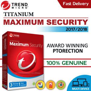 Trend Micro Maximum Security 2018 1 Year 3 PC