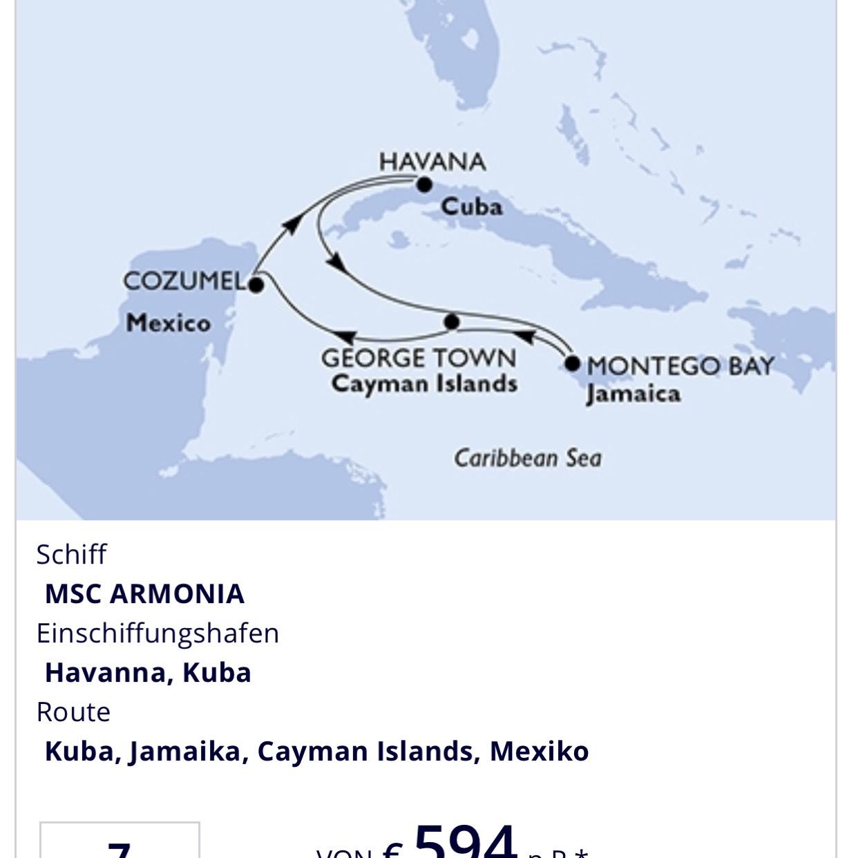 Flug mit Lufthansa nach Kuba + 1 Woche MSC Kreuzfahrt Karibik