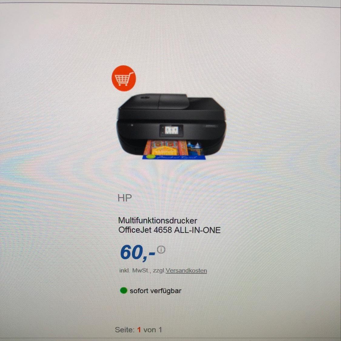HP Multifunktions Drucker Officejet 4658/ online verfügbar