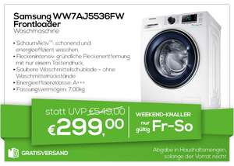 0815 Weekendknaller - 45% Rabatt auf die Samsung WW7AJ5536FW Waschmaschine