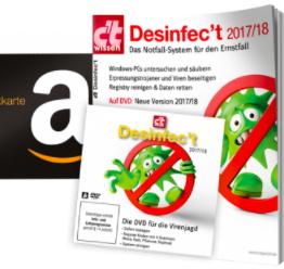 [Heise] 6 Ausgaben c't für 19,50 € mit 15,00 € Amazon-Gutschein + Sonderheft c't wissen Desinfec't 2017/18 inkl. aktuelle c't Desinfect Software