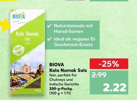 BIOVA Kala Namak Salz (Veganer Ei-Ersatz) @Kaufland