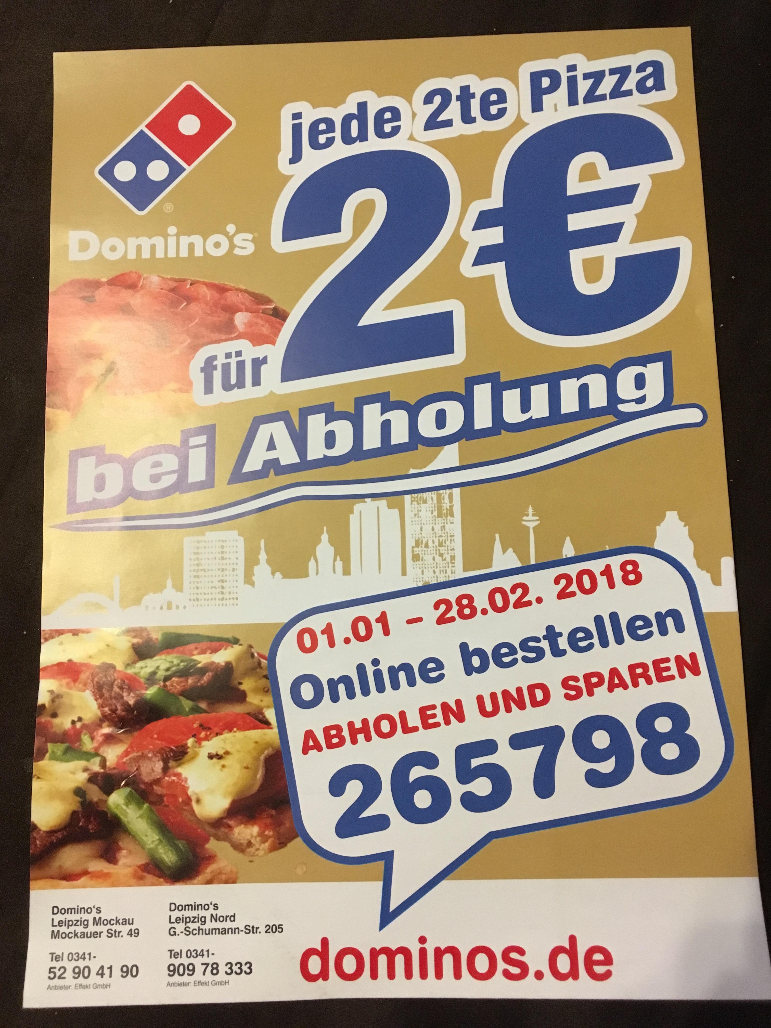 [lokal Leipzig] Dominos: jede 2. Pizza für 2 Euro bei Abholung