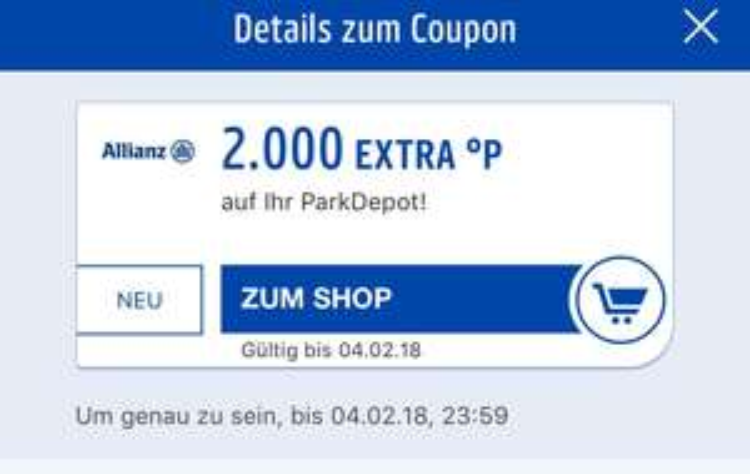 2000 Payback Punkte für Allianz ParkDepot kostenlos