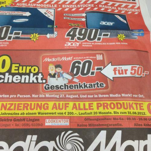 [Bundesweit] Mediamarkt 60€ Geschenkkarte für 50€