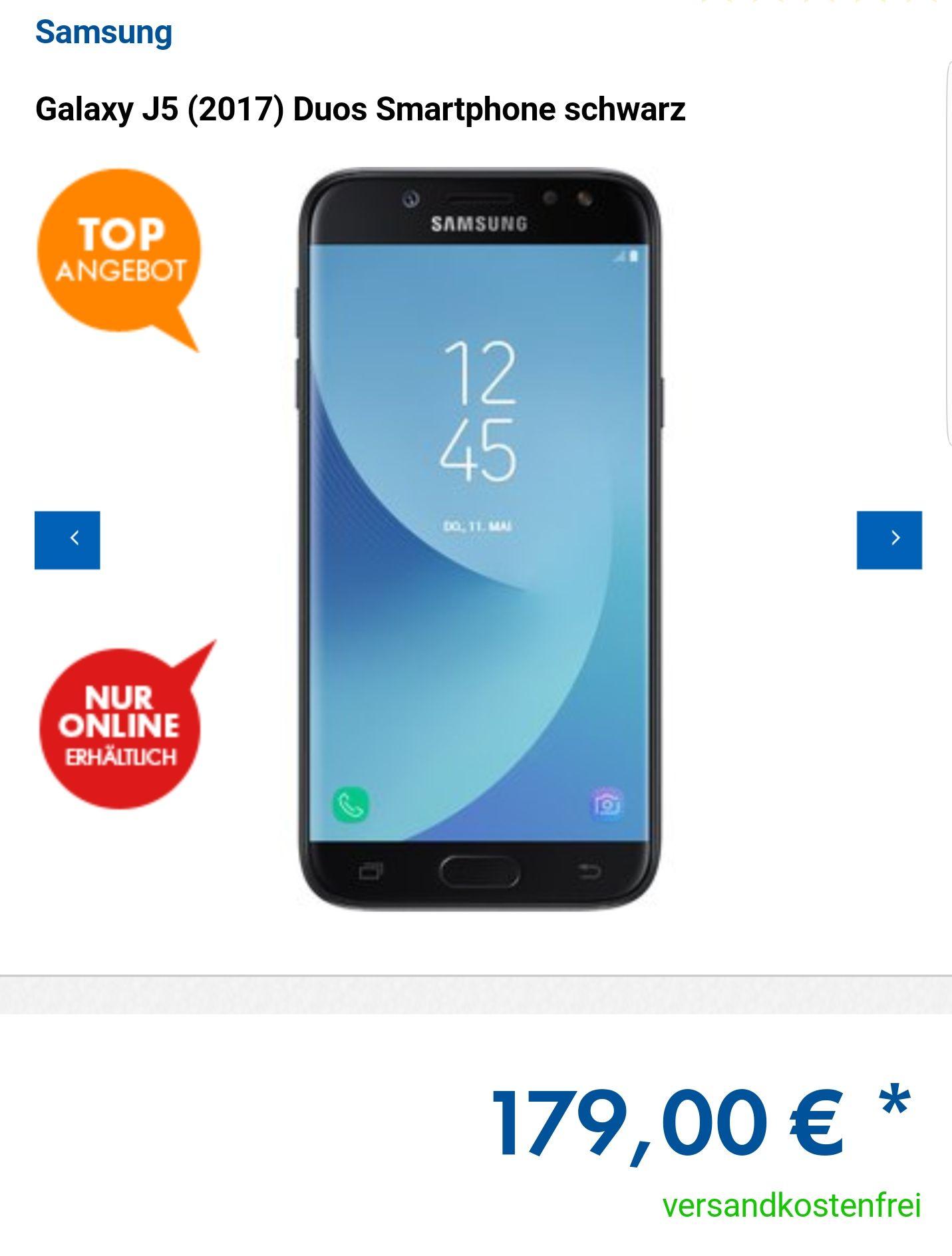 Euronics Angebot: Samsung Galaxy J5 (2017) Duos nur 174 Euro (Mit Newslettergutschein)