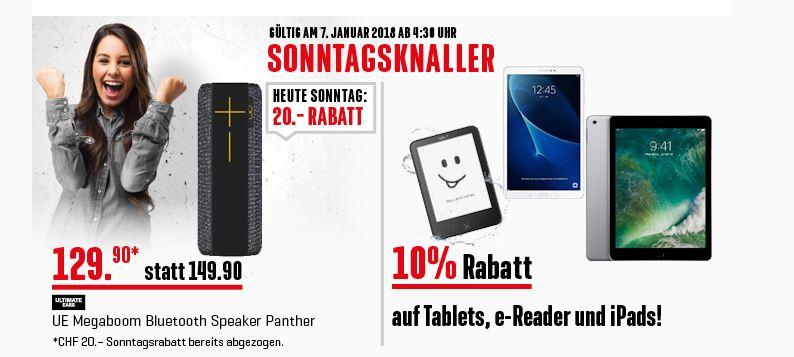 [Schweiz] 10% auf Tablets, e-Reader und iPads / UE Megaboom Panther Interdiscount.ch