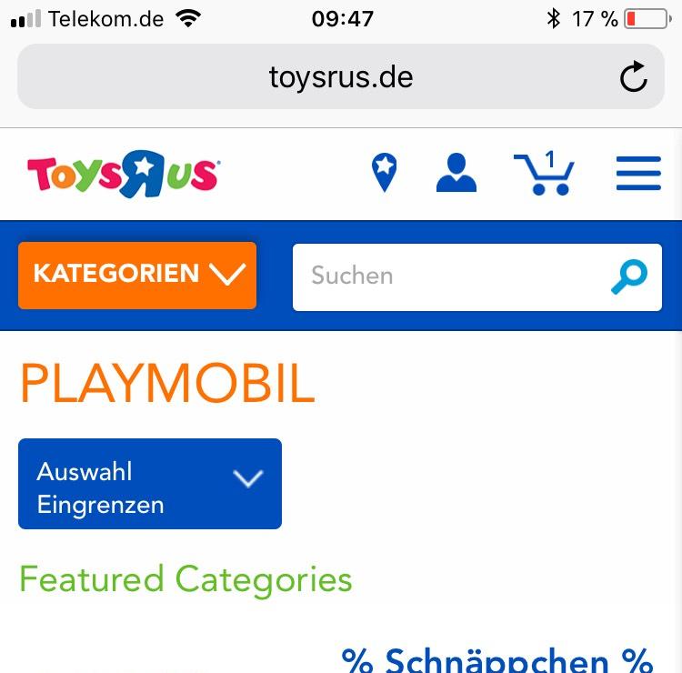 Toysrus: 15% auf Playmobil, auch auf reduzierte Artikel