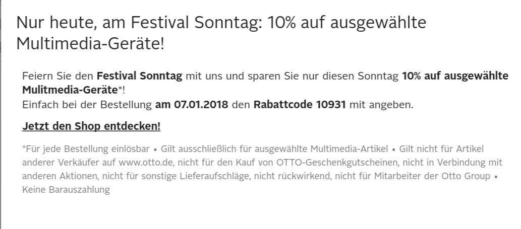 Otto Festival Sonntag 10% auf ausgewählte Multimediageräte