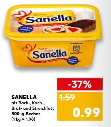 [KAUFLAND ab 11.01.] Sanella-Margarine mit 0,50 € Coupon aus dem Kaufland Jubiläums-Magazin für 0,49 €