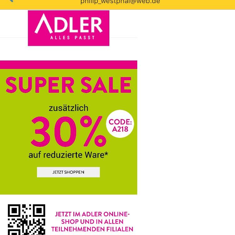 Adlermode: 30% zusätzlich auf reduzierte Artikel ab 30€