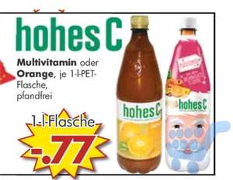 Jawoll Sonderposten Märkte : Hohes C Multivitamin oder Orange in der 1L Flasche