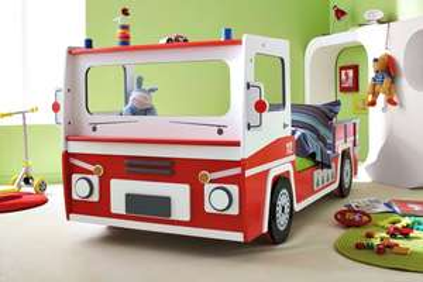 Feuerwehrbett in Rot/Weiß verstellbar für 0,00 € inkl. Versand durch Spedition