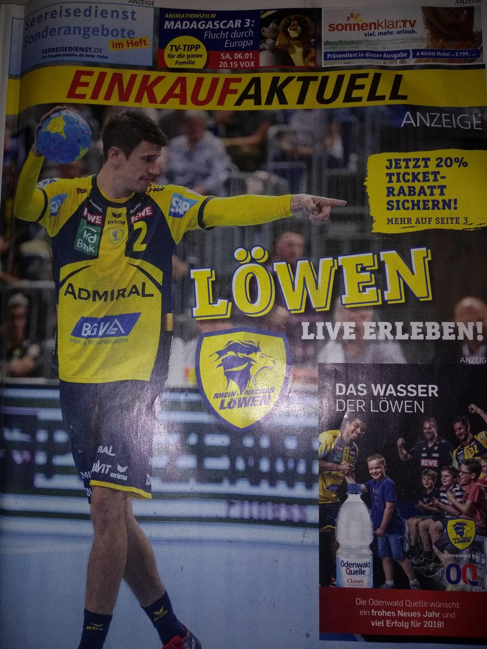 20% Ticketrabatt Handball Pokalspiel Rhein-Neckarlöwen gegen Leipzig