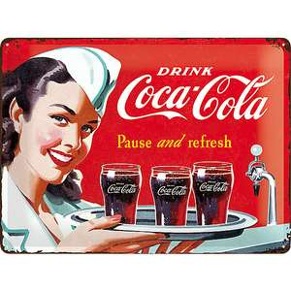 Blechschild Coca-Cola waitress