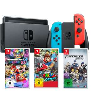 [Ebay Saturn] Nintendo Switch Neon-Rot inkl. 3 Spiele