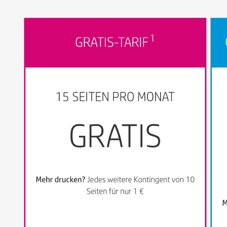 HP Instant Ink 15 Seiten pro Monat gratis Drucken