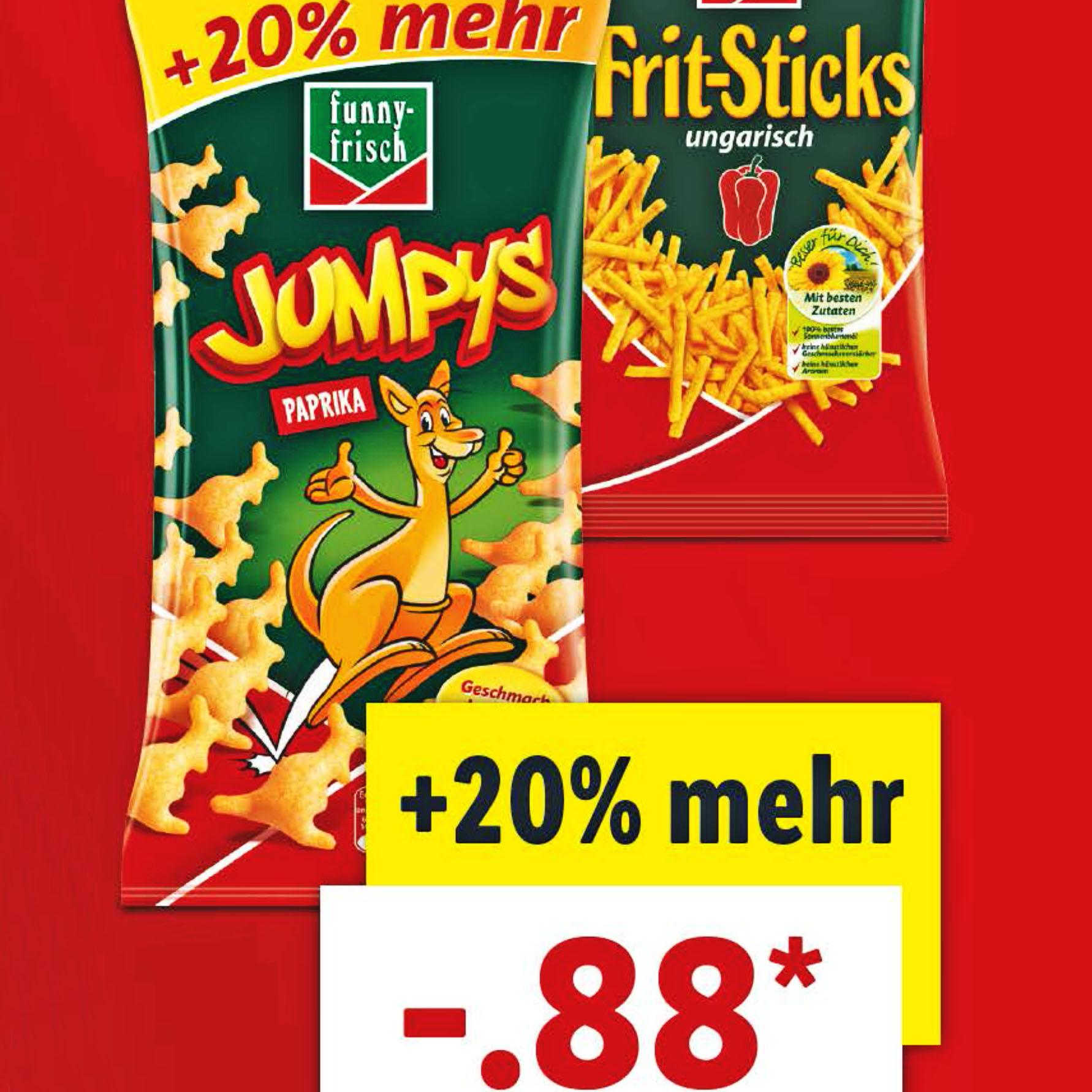 Funny-Spezialitäten Jumpys, Ringli und die leckeren Frit-Sticks mit 20% mehr Inhalt für nur 88 Cent bei (Lidl)