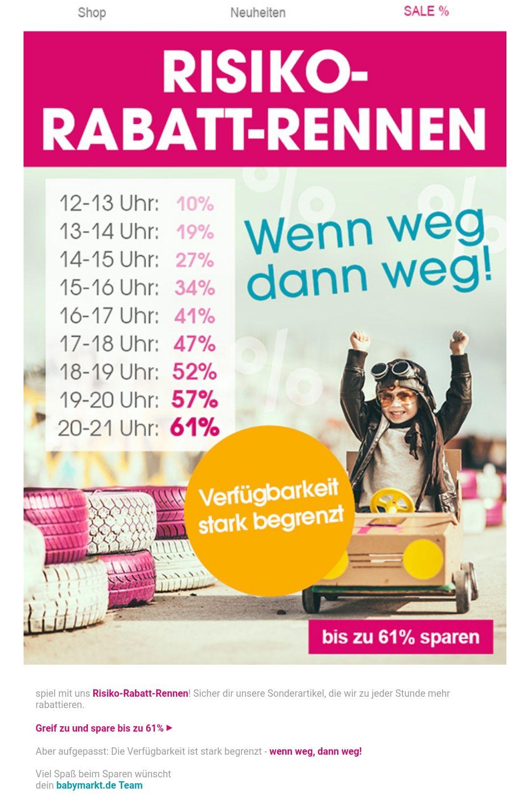 """[Babymarkt.de] Heute ab 12 Uhr bis 21 Uhr gibt es zwischen 10% und 61% Rabatt auf der """"Sonderartikel Seite"""""""