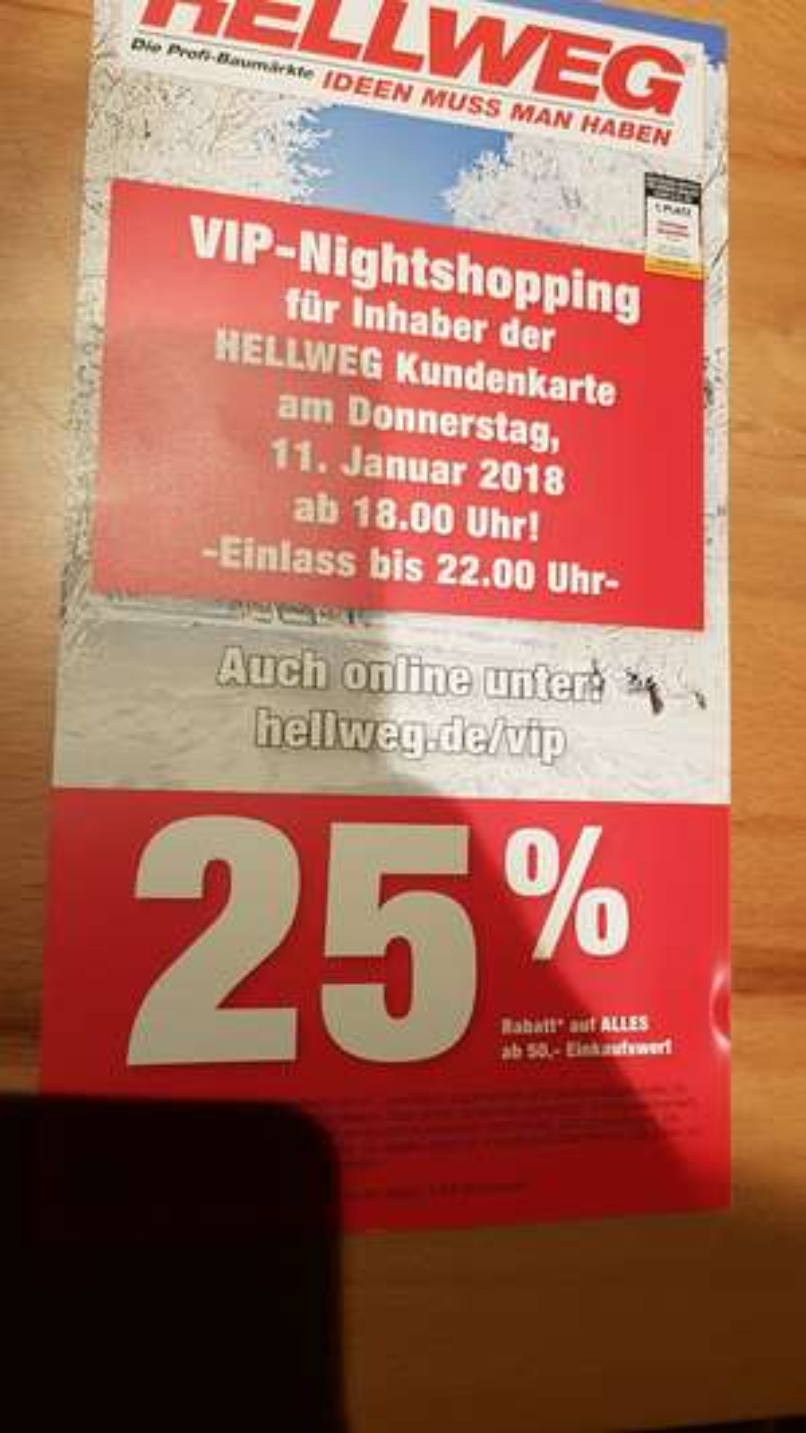 HELLWEG Baumarkt VIP-Nightshopping, 25% ab 50€ MBW