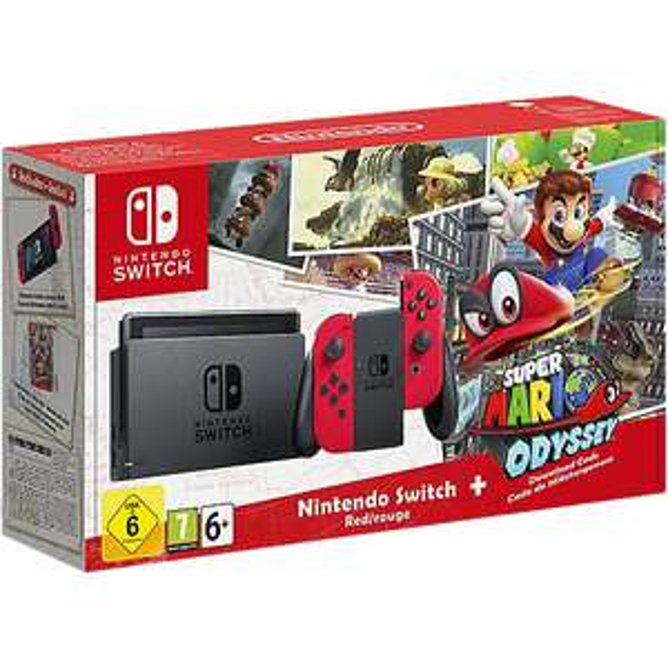 Nintendo Switch-Konsole Rot + Super Mario Odyssey [Mit Code: WINTERFREUDE]
