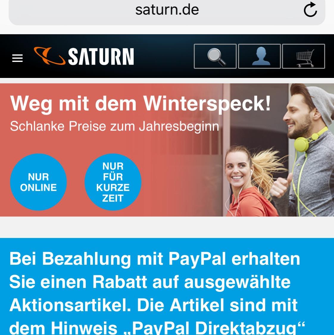 Saturn PayPal Direkt Abzug bei diversen Artikel