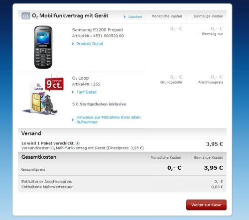 [o2 + PayPal] Samsung E1200 + 5 € O2 Loop Guthaben