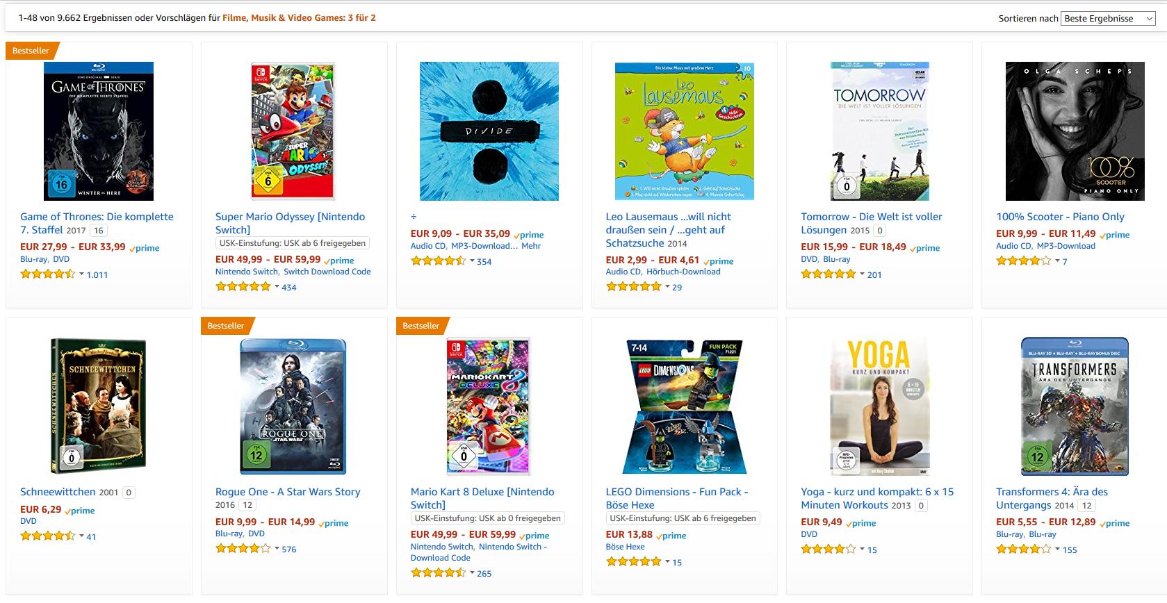 [Amazon]  3 für 2: Film, Musik & Video Games (Saturn Konter, günstiger für Spiele (insbesondere Switch))