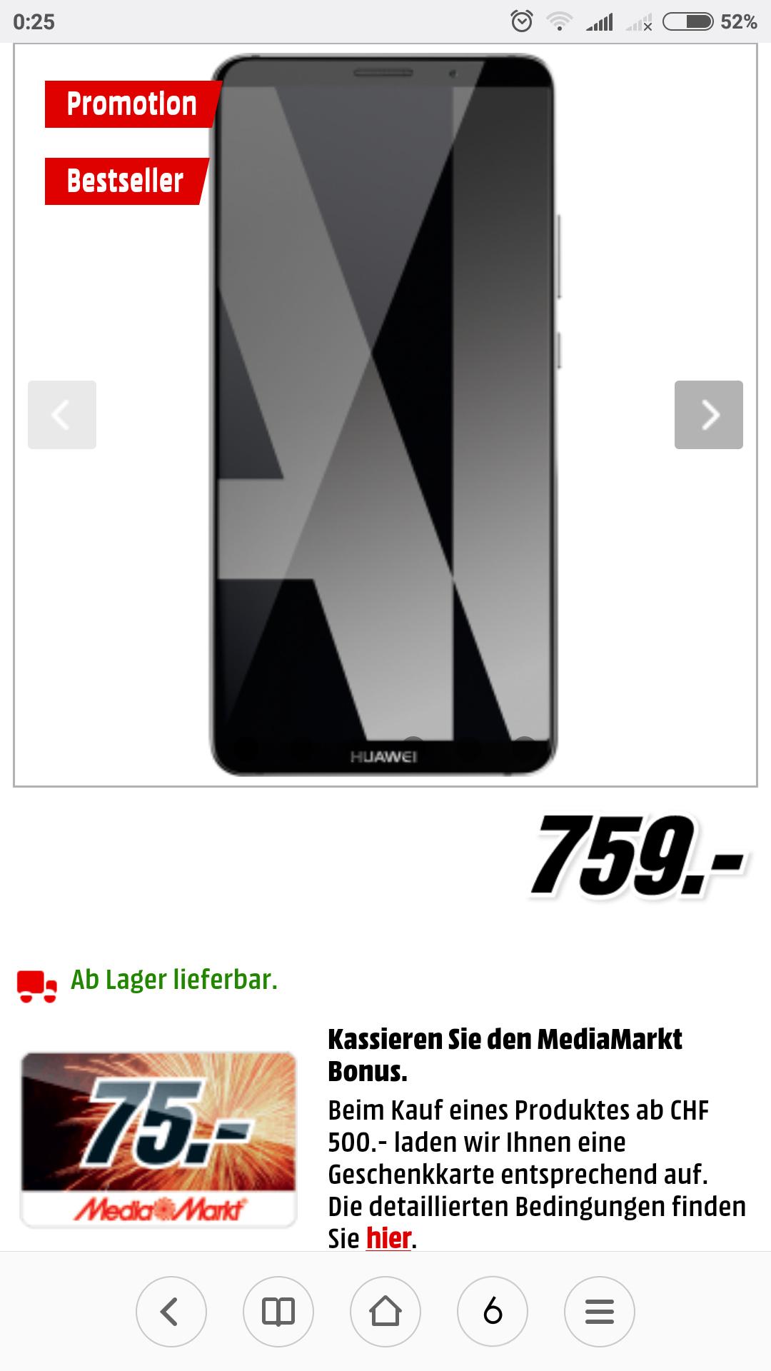 Huawei Mate 10 Pro bei Mediamarkt (CH) für umgerechnet 586€ dank Gutscheinaktion