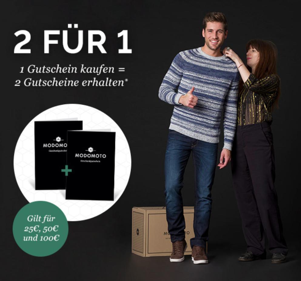 Modomoto - Gutschein über 25/50/100€ kaufen und gleichen Wert nochmal als Gutschein bekommen