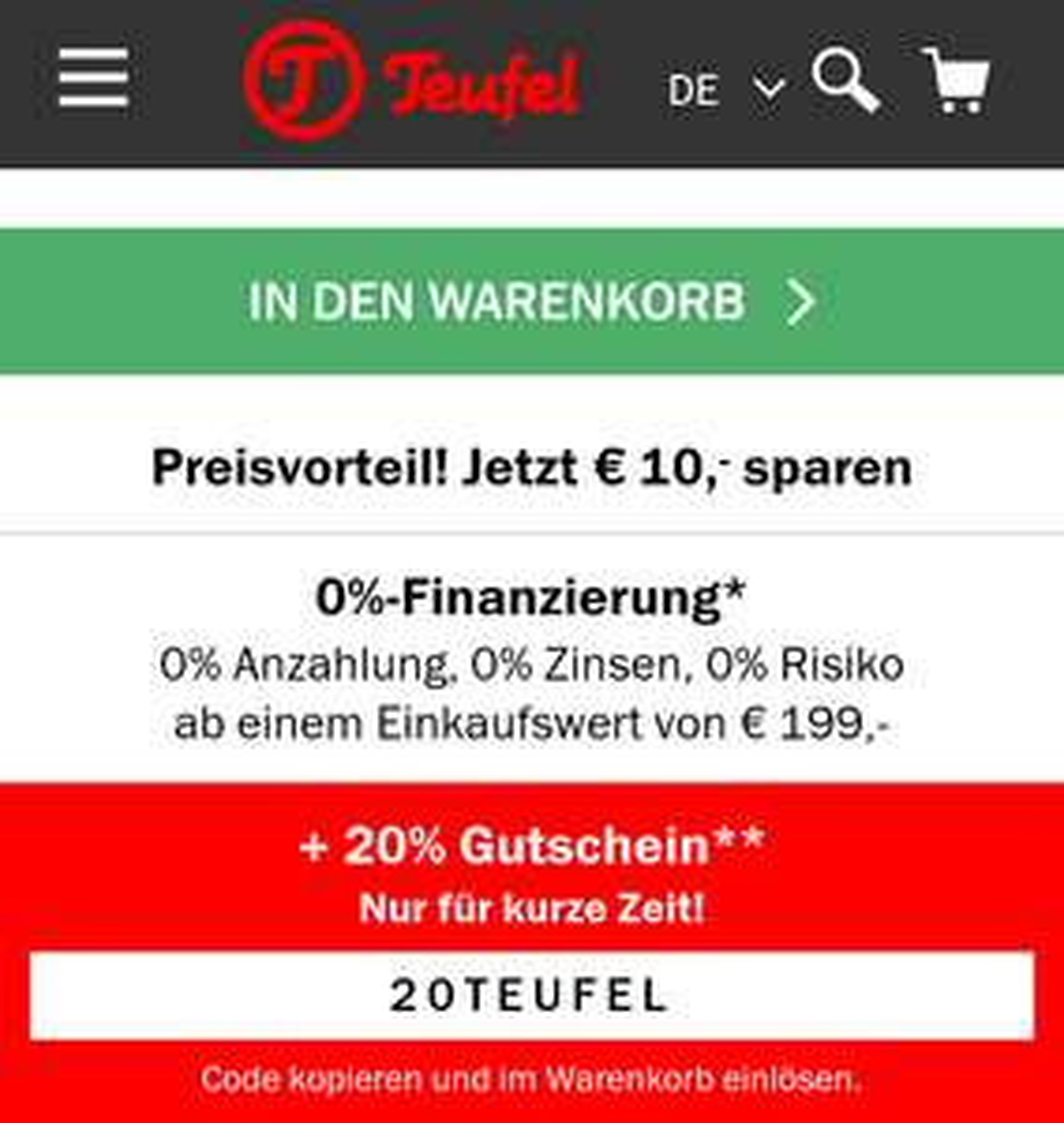 Teufel.de: 20% Rabatt mit Gutscheincode