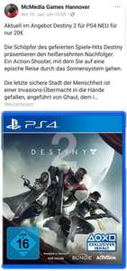 [Lokal] McMedia Games Hannover Destiny 2 PS4 20€