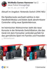 [Lokal] McMedia Games Hannover Nintendo Switch 299€