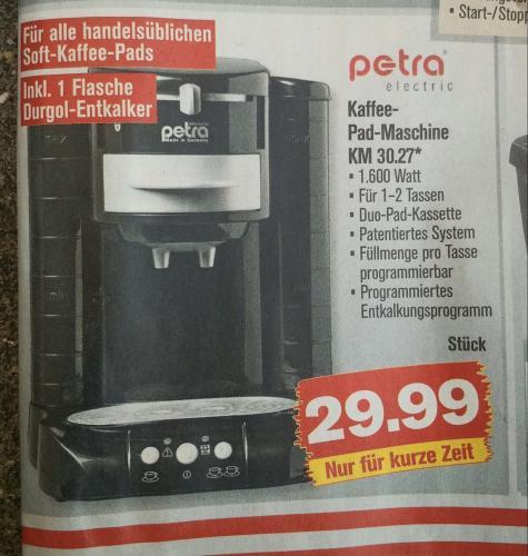 """Kaffee-Pad-Automat """"Petra KM 30.27"""" bei PENNY (wahrscheinlich deutschlandweit)"""