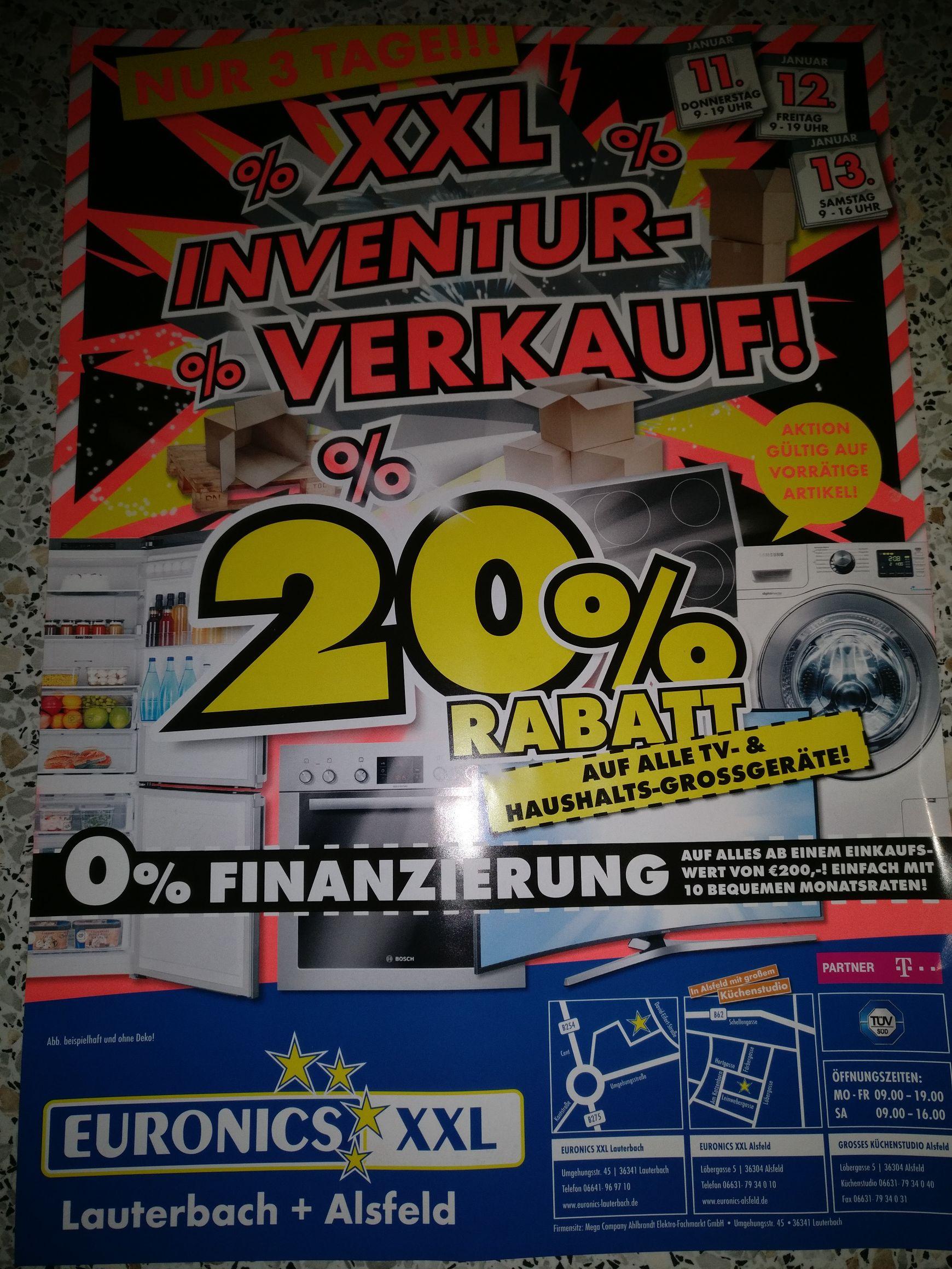 [Lokal in Lauterbach und Alsfeld] 20% Rabatt auf alle TV-& Haushaltsgrossgeräte bei Euronics