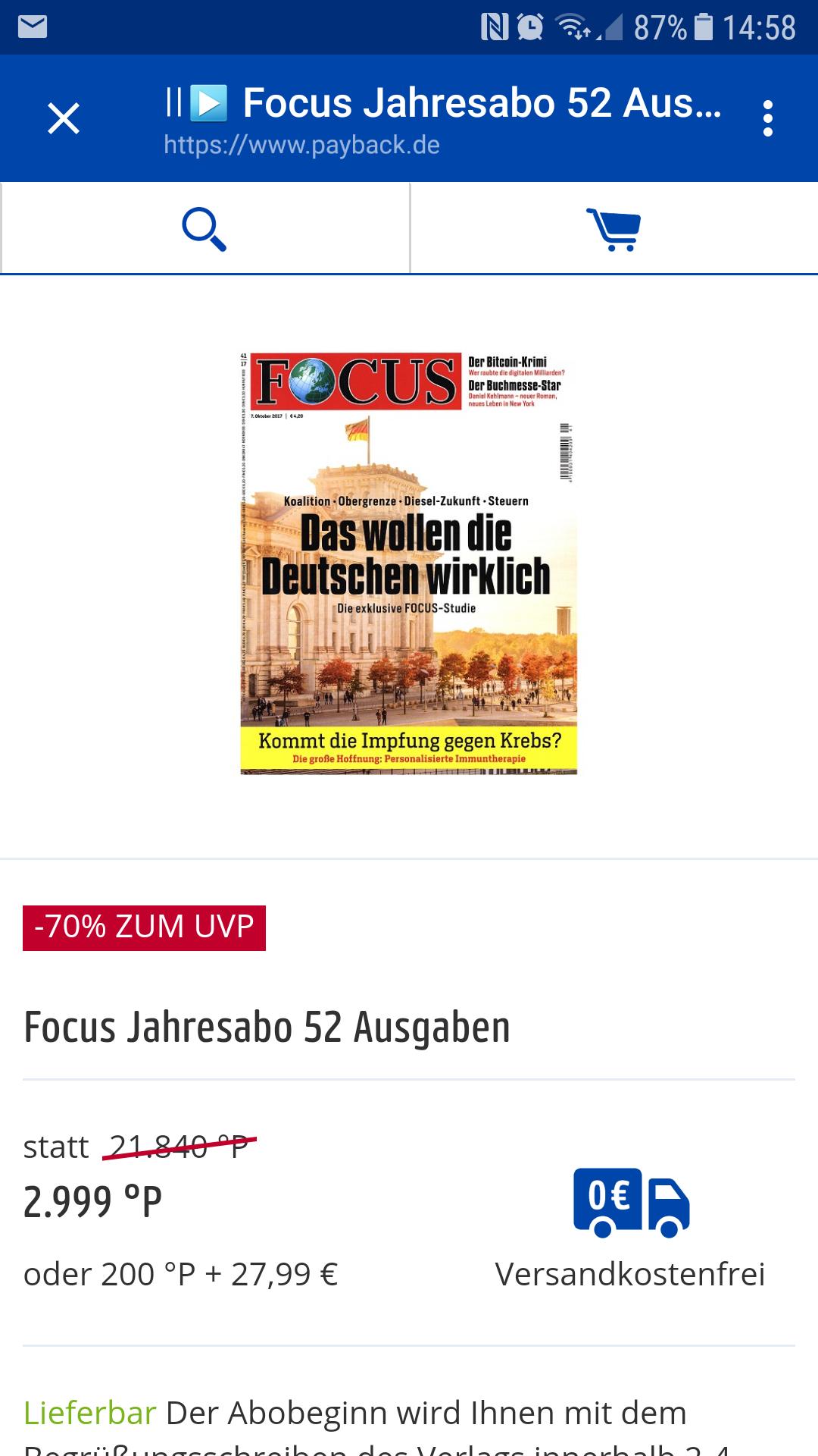 Focus Jahresabo - 52 Ausgaben - bei Payback für umgerechnet nur 29,99€