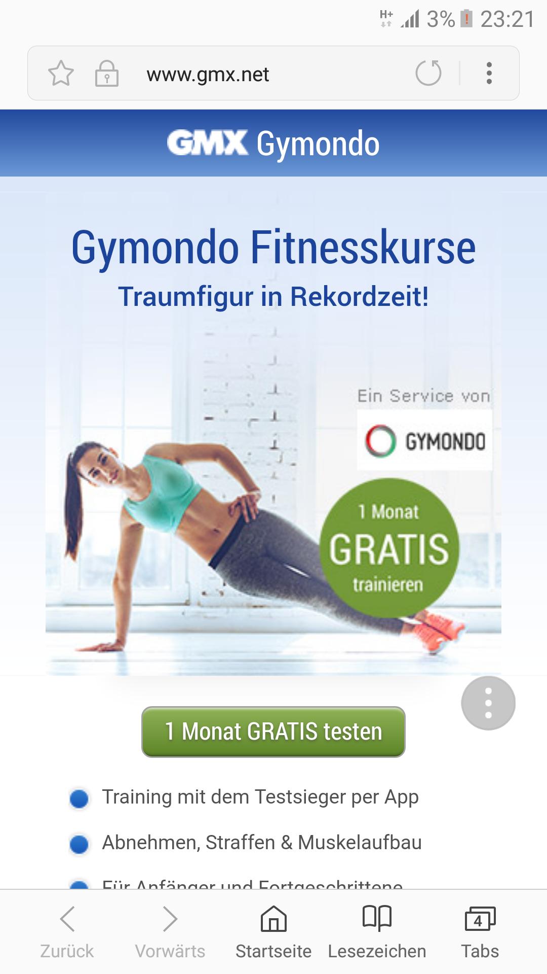 GYMONDO - 1 Monat kostenlos bei gmx.de