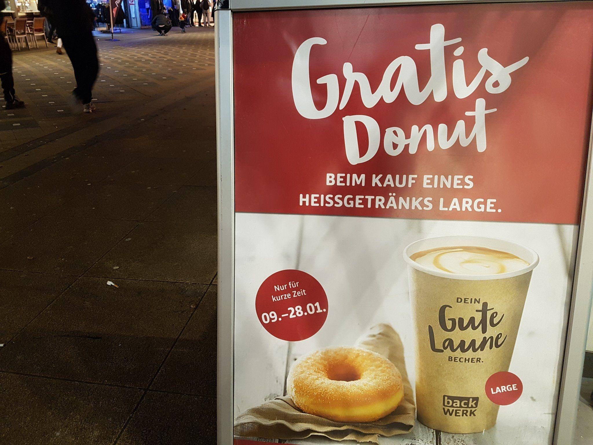 Backwerk Bundesweit: Donut gratis bei jedem großen Heißgetränk!