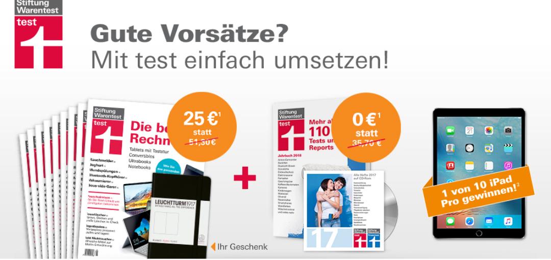 9 x Stiftung Warentest + Jahrbuch 2018 + Archiv CD 2017 + Notizbuch + Gewinnspiel