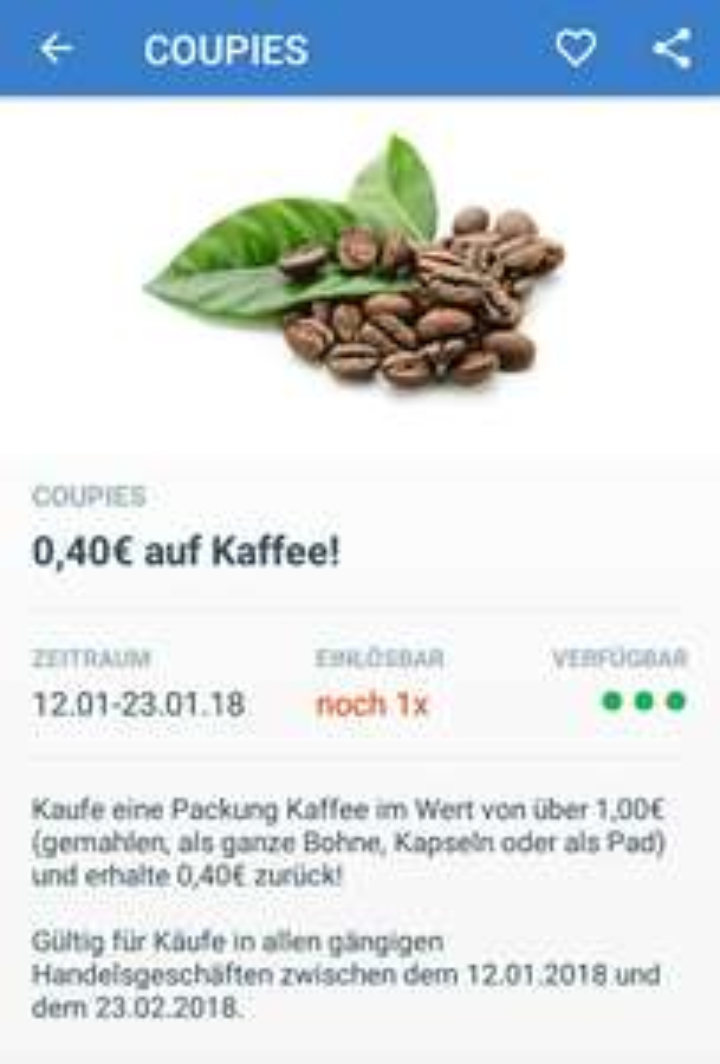 [Coupies] 0,40€ Cashback auf Kaffee (Gemahlen, ganze Bohnen, Pads, Kapseln)