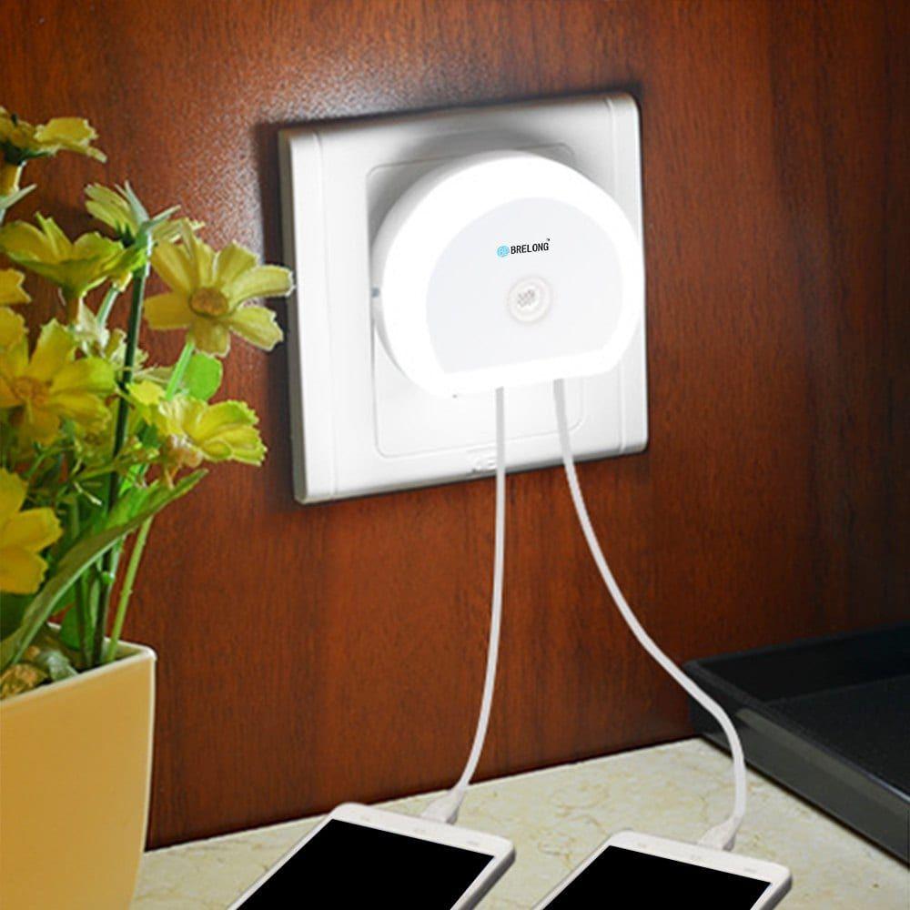 LED Nachtlicht mit Lichtsensor und 2 USB Ports für 1,26€ inkl. Versand bei Gamiss