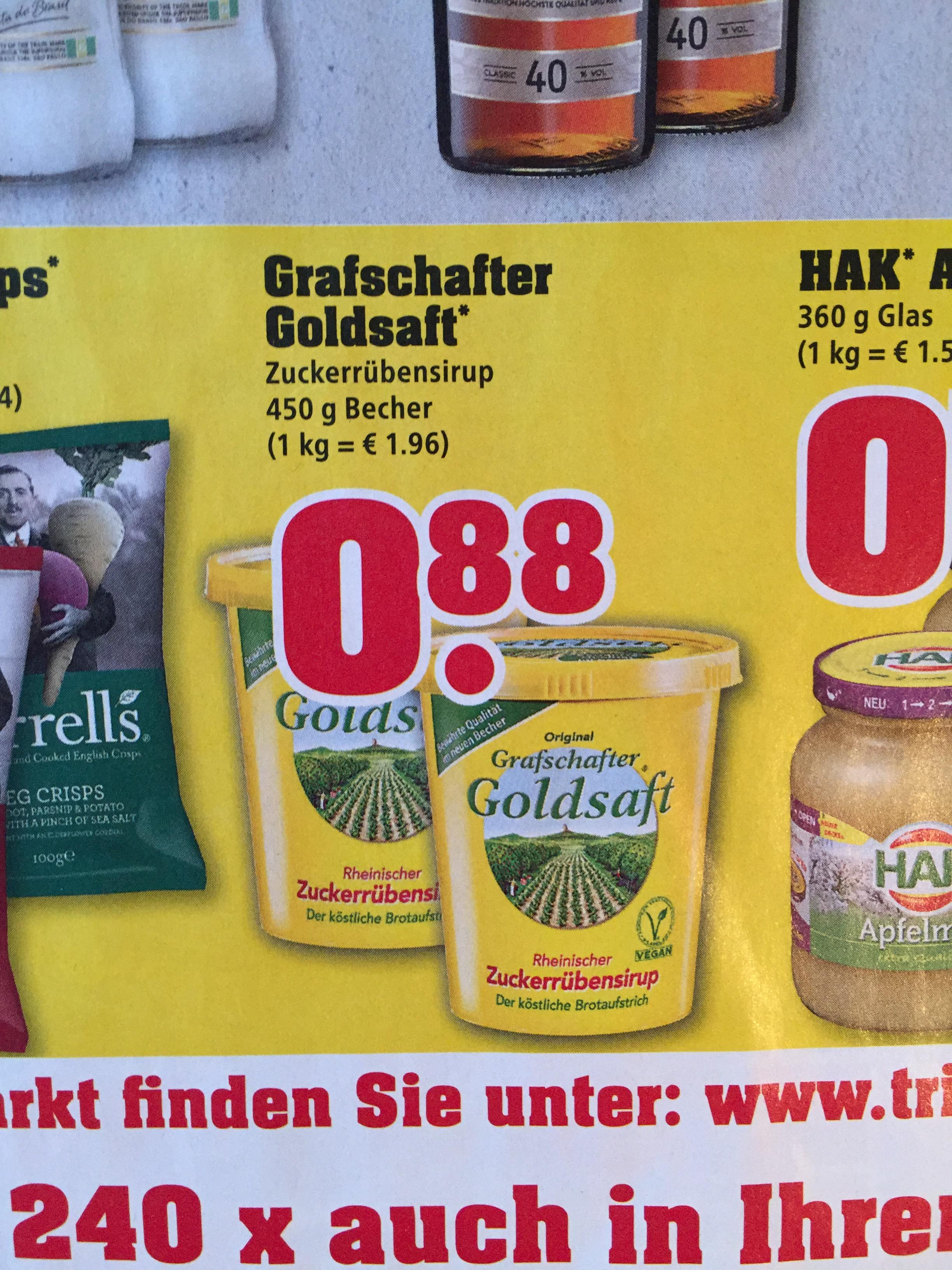 [trinkgut] Grafschafter Goldsaft Zuckerrübensirup / Rübenkraut für 88 Cent offline bei Trinkgut