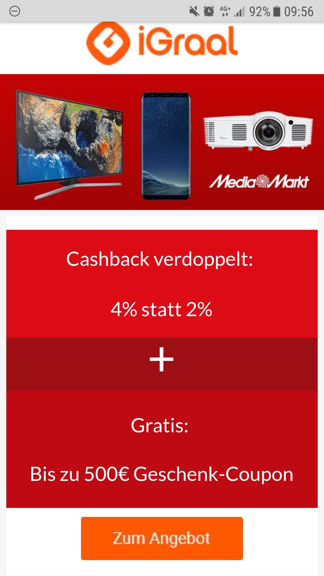 IGRAAL 4% statt 2% bei Mediamarkt + bis zu 500€ Coupon