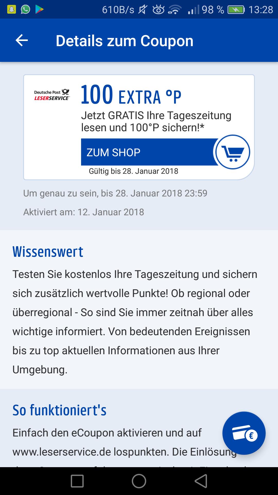 Kostenlos Zeitungen für 2 Wochen über Payback vom Deutsche Post Leserservice