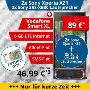 [TOPHANDY] Vodafone Smart XL + 2x Sony Xperia XZ1 + 2x Sony SRS XB30 Bluetooth Lautsprecher für 89 € Zuzahlung