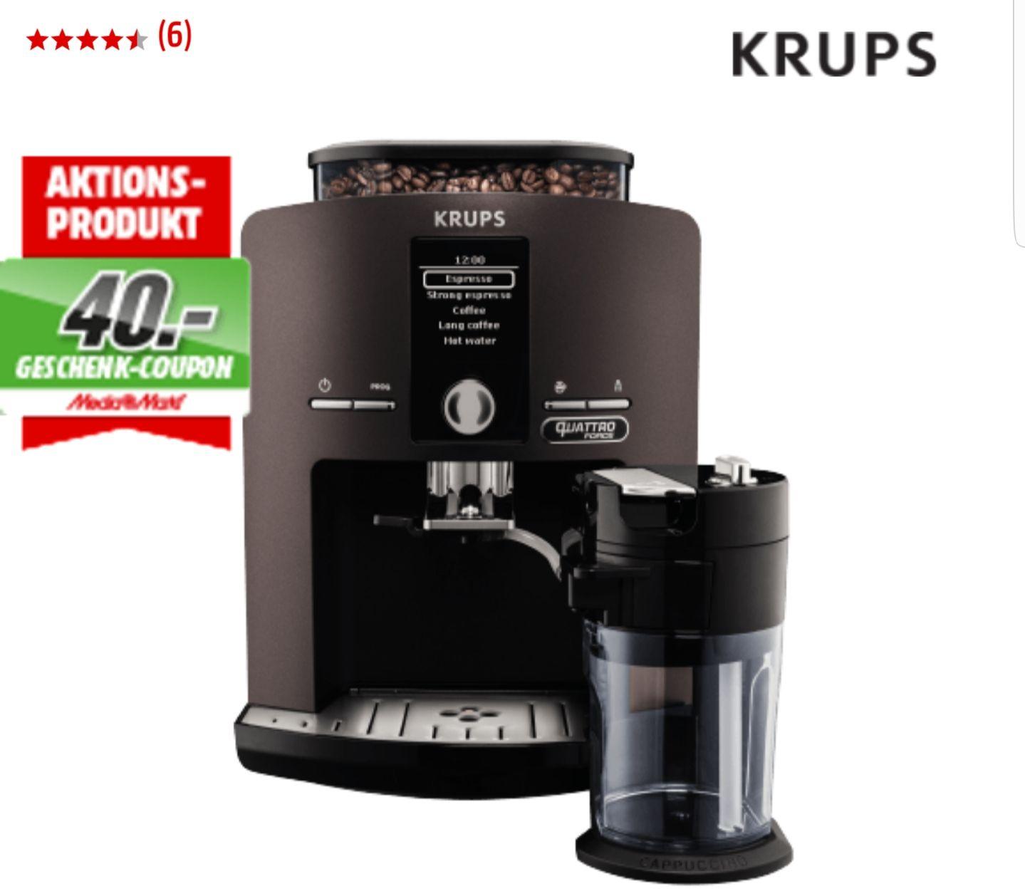 MediaMarkt: KRUPS EA829P Latt´Espress Kaffeevollautomat nur 399 Euro ink 40 Euro Geschenk-Coupon geschenkt