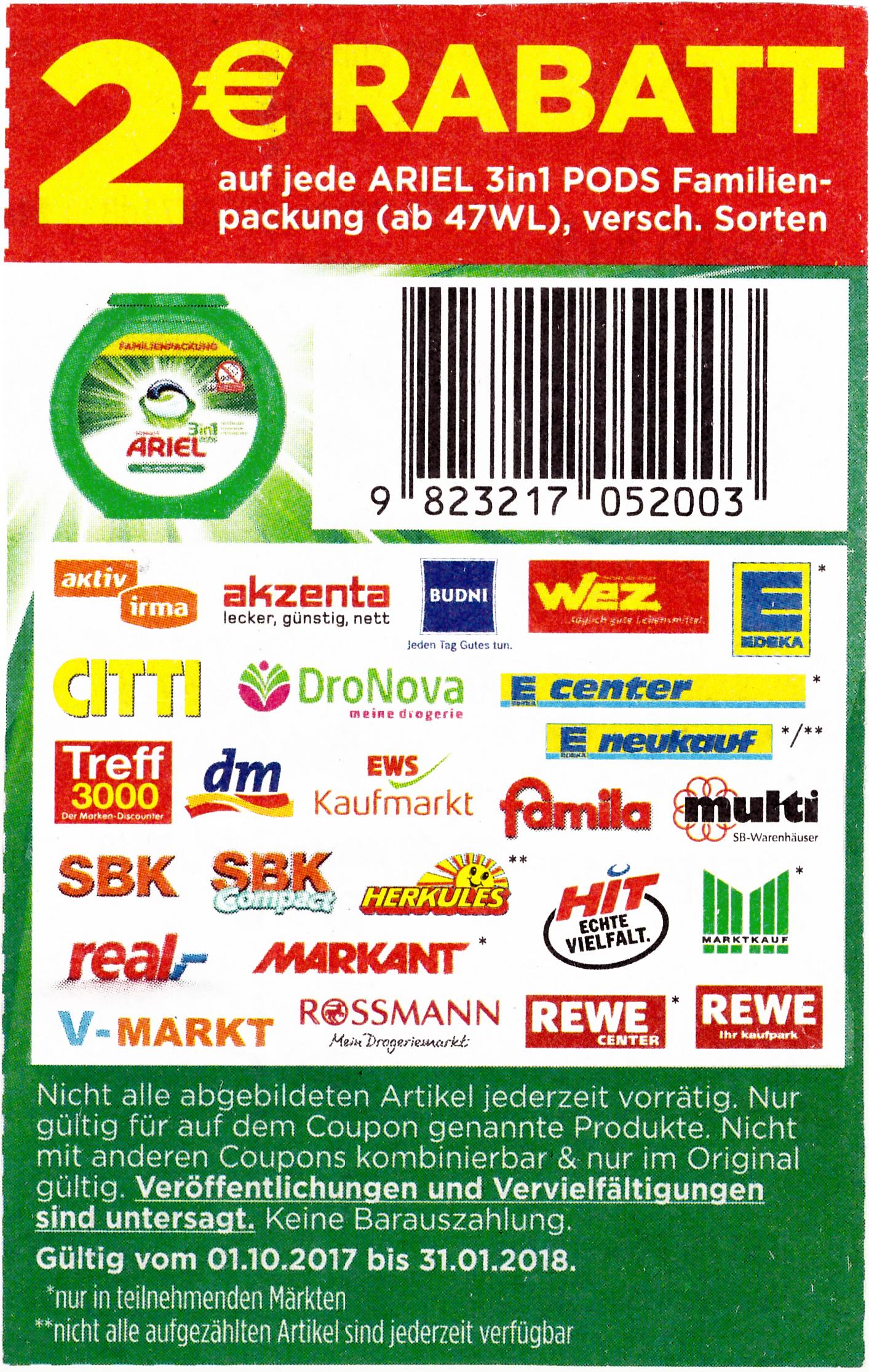 2€ Coupon/ ARIEL 3in1 PODS Familienpackung (ab 47WL)/ für Rossmann, DM, Rewe, Real usw.