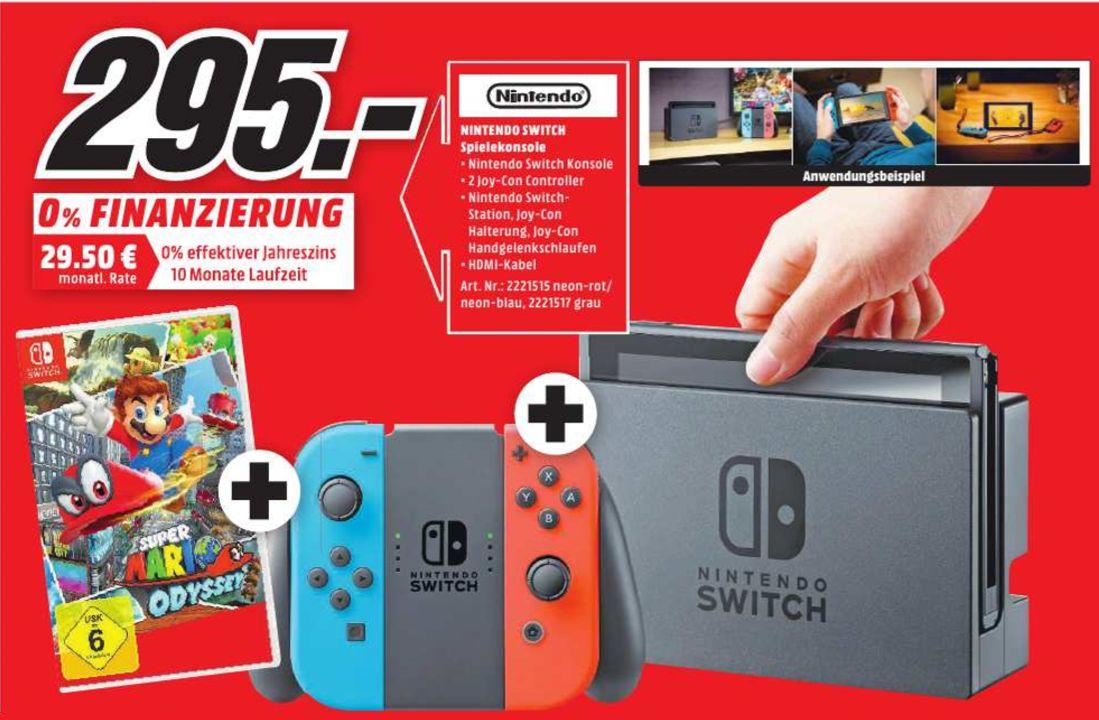 [Regional Mediamarkt Brandenburg an der Havel] Nintendo Switch Spielekonsole neon rot / neon blau + Super Mario Odyssey für 295,-€