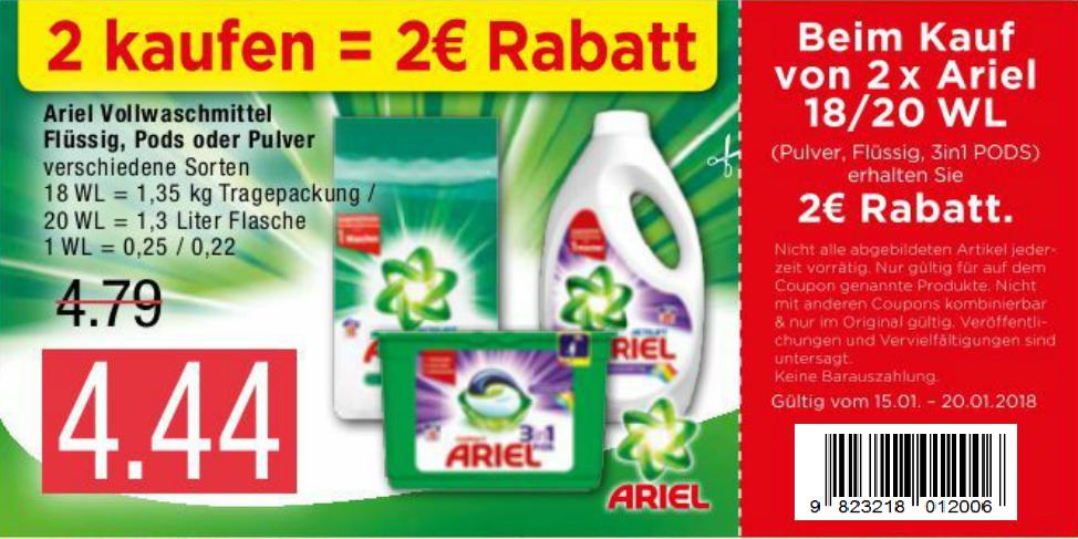 Marktkauf - ARIEL COUPON 2 Produkte kaufen 2,00€ Rabatt