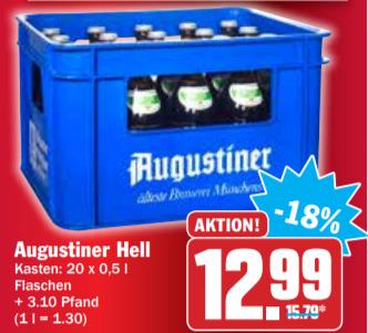 [HIT München] Kasten Augustiner Hell für 12,99€ zzgl. Pfand